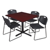 """Cain 48"""" Square Breakroom Table- Mahogany & 4 Zeng Stack Chairs- Black"""