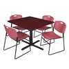 "Cain 48"" Square Breakroom Table- Mahogany & 4 Zeng Stack Chairs- Burgundy"