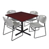 "Cain 48"" Square Breakroom Table- Mahogany & 4 Zeng Stack Chairs- Grey"