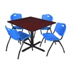 """Cain 48"""" Square Breakroom Table- Mahogany & 4 'M' Stack Chairs- Blue"""