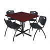 "Cain 48"" Square Breakroom Table- Mahogany & 4 'M' Stack Chairs- Black"