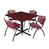 "Cain 48"" Square Breakroom Table- Mahogany & 4 'M' Stack Chairs- Burgundy"