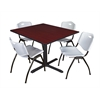 """Cain 48"""" Square Breakroom Table- Mahogany & 4 'M' Stack Chairs- Grey"""