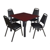 """Kee 48"""" Square Breakroom Table- Mahogany/ Black & 4 Restaurant Stack Chairs- Black"""