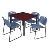 "Kee 48"" Square Breakroom Table- Mahogany/ Black & 4 Zeng Stack Chairs- Blue"