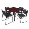 "Kee 48"" Square Breakroom Table- Mahogany/ Black & 4 Zeng Stack Chairs- Black"