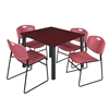 "Kee 48"" Square Breakroom Table- Mahogany/ Black & 4 Zeng Stack Chairs- Burgundy"
