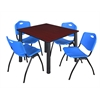 "Kee 48"" Square Breakroom Table- Mahogany/ Black & 4 'M' Stack Chairs- Blue"