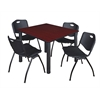 "Kee 48"" Square Breakroom Table- Mahogany/ Black & 4 'M' Stack Chairs- Black"