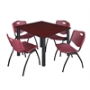 "Kee 48"" Square Breakroom Table- Mahogany/ Black & 4 'M' Stack Chairs- Burgundy"
