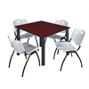 "Kee 48"" Square Breakroom Table- Mahogany/ Black & 4 'M' Stack Chairs- Grey"