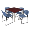 """Kee 48"""" Square Breakroom Table- Mahogany/ Chrome & 4 Zeng Stack Chairs- Blue"""