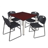 "Kee 48"" Square Breakroom Table- Mahogany/ Chrome & 4 Zeng Stack Chairs- Black"