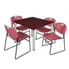 "Kee 48"" Square Breakroom Table- Mahogany/ Chrome & 4 Zeng Stack Chairs- Burgundy"
