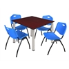 "Kee 48"" Square Breakroom Table- Mahogany/ Chrome & 4 'M' Stack Chairs- Blue"