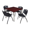 "Kee 48"" Square Breakroom Table- Mahogany/ Chrome & 4 'M' Stack Chairs- Black"
