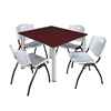"Kee 48"" Square Breakroom Table- Mahogany/ Chrome & 4 'M' Stack Chairs- Grey"