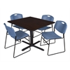 "Cain 48"" Square Breakroom Table- Mocha Walnut & 4 Zeng Stack Chairs- Blue"