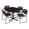 """Cain 48"""" Square Breakroom Table- Mocha Walnut & 4 Zeng Stack Chairs- Black"""