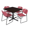 """Cain 48"""" Square Breakroom Table- Mocha Walnut & 4 Zeng Stack Chairs- Burgundy"""
