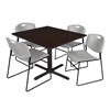 "Cain 48"" Square Breakroom Table- Mocha Walnut & 4 Zeng Stack Chairs- Grey"