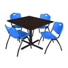 "Cain 48"" Square Breakroom Table- Mocha Walnut & 4 'M' Stack Chairs- Blue"