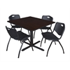 "Cain 48"" Square Breakroom Table- Mocha Walnut & 4 'M' Stack Chairs- Black"