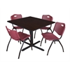 "Cain 48"" Square Breakroom Table- Mocha Walnut & 4 'M' Stack Chairs- Burgundy"