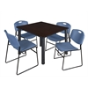 "Kee 48"" Square Breakroom Table- Mocha Walnut/ Black & 4 Zeng Stack Chairs- Blue"
