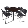 "Kee 48"" Square Breakroom Table- Mocha Walnut/ Black & 4 Zeng Stack Chairs- Black"