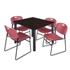 "Kee 48"" Square Breakroom Table- Mocha Walnut/ Black & 4 Zeng Stack Chairs- Burgundy"