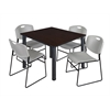 "Kee 48"" Square Breakroom Table- Mocha Walnut/ Black & 4 Zeng Stack Chairs- Grey"