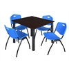 "Kee 48"" Square Breakroom Table- Mocha Walnut/ Black & 4 'M' Stack Chairs- Blue"
