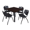"Kee 48"" Square Breakroom Table- Mocha Walnut/ Black & 4 'M' Stack Chairs- Black"