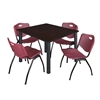 "Kee 48"" Square Breakroom Table- Mocha Walnut/ Black & 4 'M' Stack Chairs- Burgundy"