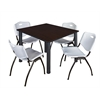 "Kee 48"" Square Breakroom Table- Mocha Walnut/ Black & 4 'M' Stack Chairs- Grey"