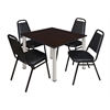 "Kee 48"" Square Breakroom Table- Mocha Walnut/ Chrome & 4 Restaurant Stack Chairs- Black"