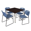 "Kee 48"" Square Breakroom Table- Mocha Walnut/ Chrome & 4 Zeng Stack Chairs- Blue"