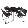 "Kee 48"" Square Breakroom Table- Mocha Walnut/ Chrome & 4 Zeng Stack Chairs- Black"