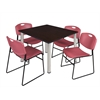 "Kee 48"" Square Breakroom Table- Mocha Walnut/ Chrome & 4 Zeng Stack Chairs- Burgundy"