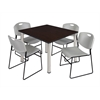 "Kee 48"" Square Breakroom Table- Mocha Walnut/ Chrome & 4 Zeng Stack Chairs- Grey"