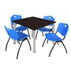 "Kee 48"" Square Breakroom Table- Mocha Walnut/ Chrome & 4 'M' Stack Chairs- Blue"