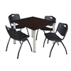 "Kee 48"" Square Breakroom Table- Mocha Walnut/ Chrome & 4 'M' Stack Chairs- Black"
