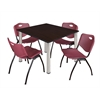 "Kee 48"" Square Breakroom Table- Mocha Walnut/ Chrome & 4 'M' Stack Chairs- Burgundy"