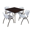 "Kee 48"" Square Breakroom Table- Mocha Walnut/ Chrome & 4 'M' Stack Chairs- Grey"