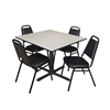 "Cain 48"" Square Breakroom Table- Maple & 4 Restaurant Stack Chairs- Black"
