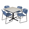 "Cain 48"" Square Breakroom Table- Maple & 4 Zeng Stack Chairs- Blue"