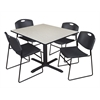 """Cain 48"""" Square Breakroom Table- Maple & 4 Zeng Stack Chairs- Black"""