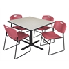 "Cain 48"" Square Breakroom Table- Maple & 4 Zeng Stack Chairs- Burgundy"