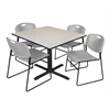 """Cain 48"""" Square Breakroom Table- Maple & 4 Zeng Stack Chairs- Grey"""